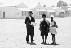 """An elder of the Dutch Reformed Church with his family after Sunday service, Carnavon, Cape Province, 1968  (Goldblatt)""""I was very interested in the events that were taking place in the country as a citizen. But as a photographer, I'm not particularly interested – and I wasn't then – in photographing the moment that something happens. I'm interested in the conditions that give rise to events."""" Goldblatt died in Johannesburg in 2018."""