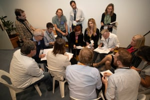 The Guardian staff discuss the 2019 Budget in the budget lock-up in Parliament House Canberra this afternoon. Tuesday 2nd April 2019.