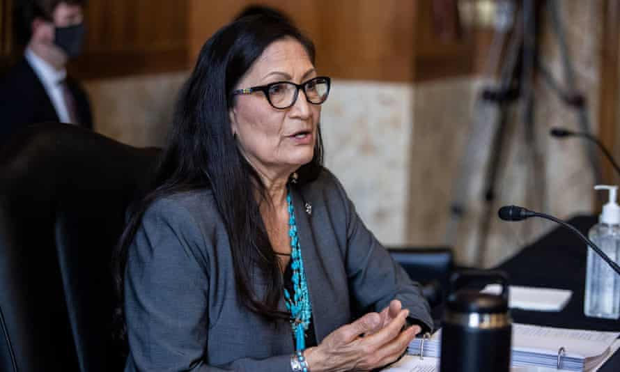 Deb Haaland at a Senate hearing on her confirmation as interior secretary.
