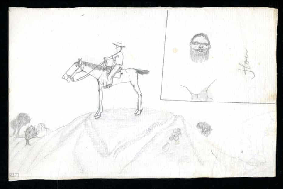 Drawing of a man on a horse.