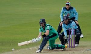 Ireland's Andrew Balbirnie sweeps Moeen Ali.