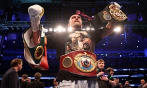 Oleksandr Usyk celebrates after being crowned the new World Champion.