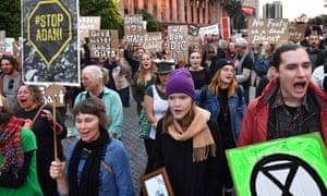 Protesters against the Adani coalmine in King George Square in Brisbane