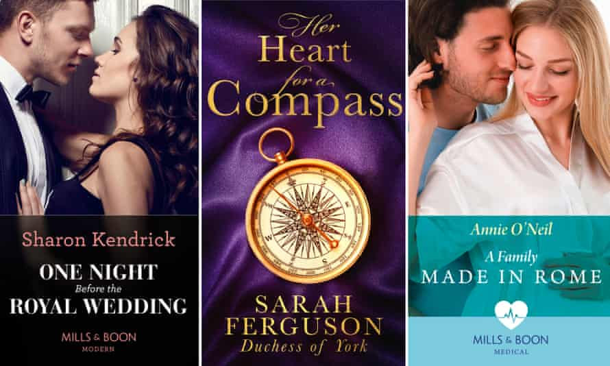 Mills & Boon book covers, including Sarah Ferguson's Her Heart for a Compass, centre.
