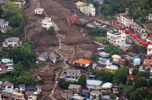 An aerial view from a Jiji Press helicopter shows the landslide site in Atami