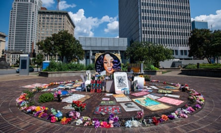 The Breonna Taylor memorial at Jefferson Square Park in Louisville, Kentucky. Thousands are protesting Derby Day to demand justice for Taylor.