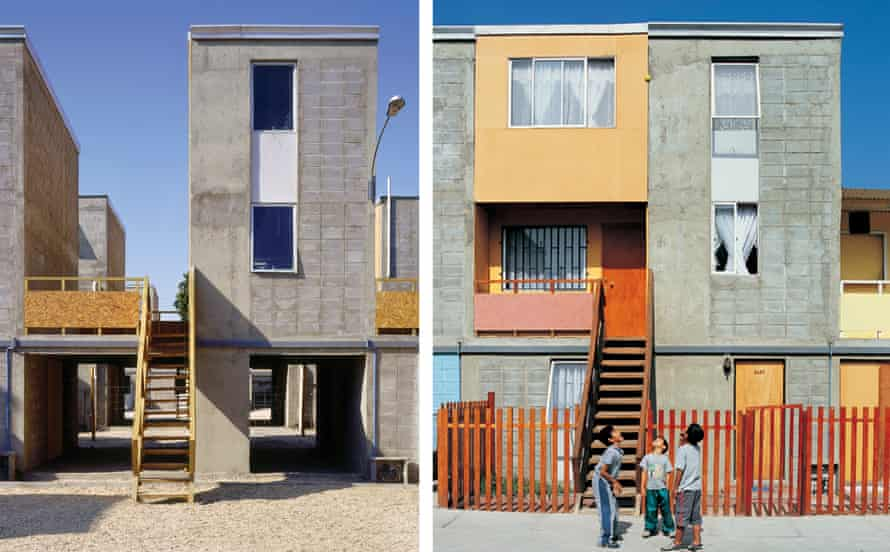 Before and after: homes designed by Alejandro Aravena in Iquique, Chile provided 'half a good house', with the structure to be expanded by the residents themselves.