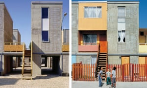 In Iquique, Chile, Aravena provided a concrete frame, with kitchen, bathroom and a roof (left), which were designed to allow families to fill in the gaps (right).