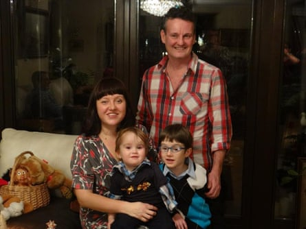 Julian Gilbert with his wife Kamilla and sons Ben, 2, and Alex, 8