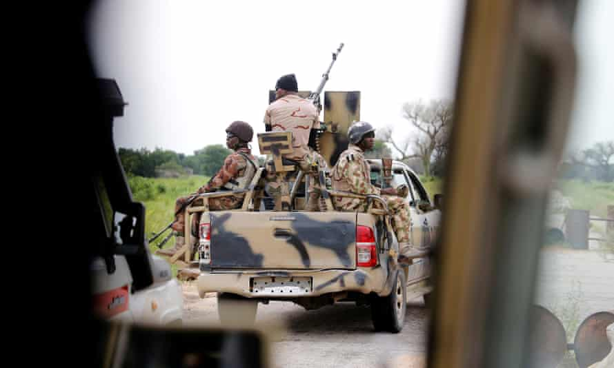 A Nigerian army convoy in Borno State, where up to 30 soldiers were killed by Islamists.