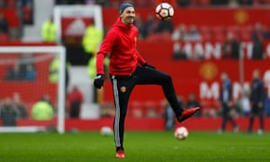 Manchester United's Zlatan Ibrahimovic warms up before the FA Cup match against Reading at the weekend.