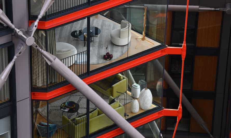 Interiors of flats at Neo Bankside development seen from the terrace of Tate Modern
