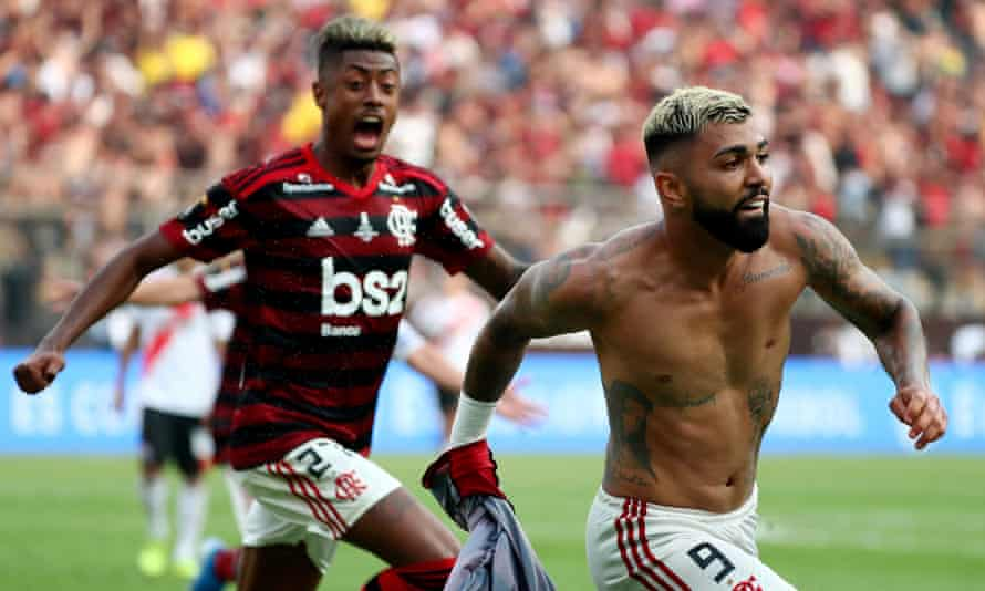 Gabriel Barbosa celebrates scoring Flamengo's winning goal in injury time of the Copa Libertadores final against River Plate.
