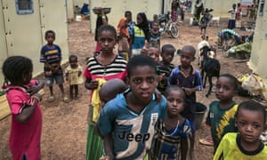 Displaced Fulani children gather in a makeshift camp  in Youba in Burkina Faso's Yatenga province in April