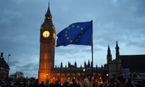 Houses of parliament with EU flag held by protester