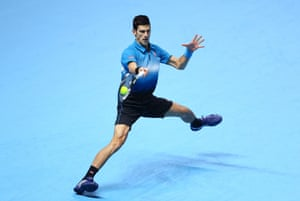 Djokovic hits a forehand return.