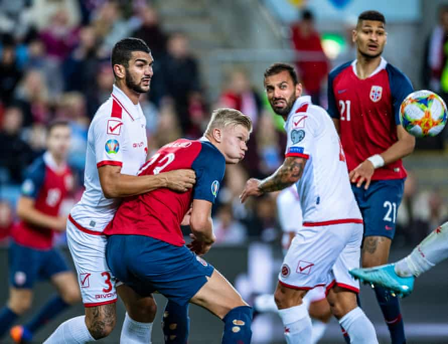 Norway's Erling Braut Haaland in action during their Euro 2020 qualifier against Malta in September 2019.