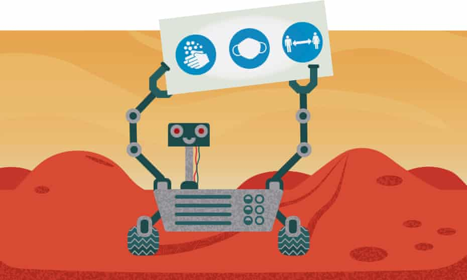 robot or rover on Mars warning of precautions against Covid spread by astronauts