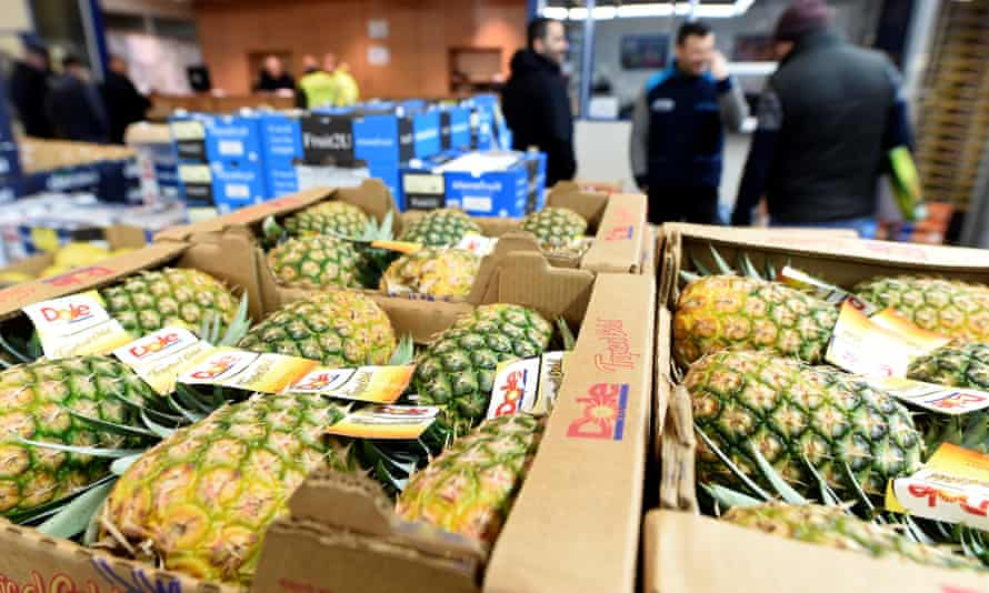 Pineapples for sale at a wholesale fruits and vegetables market