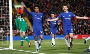 Willian celebrates scoring the Chelsea equaliser.