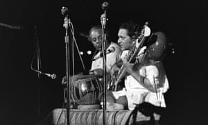 Alla Rakha and Ravi Shankar on stage at Woodstock
