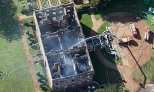 The smouldering remains of Clandon Park House