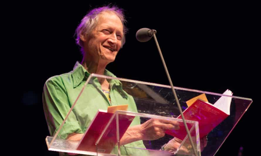 Michael Horovitz reading at the Poetry Olympics, in the Queen Elizabeth Hall, London, in 2012.