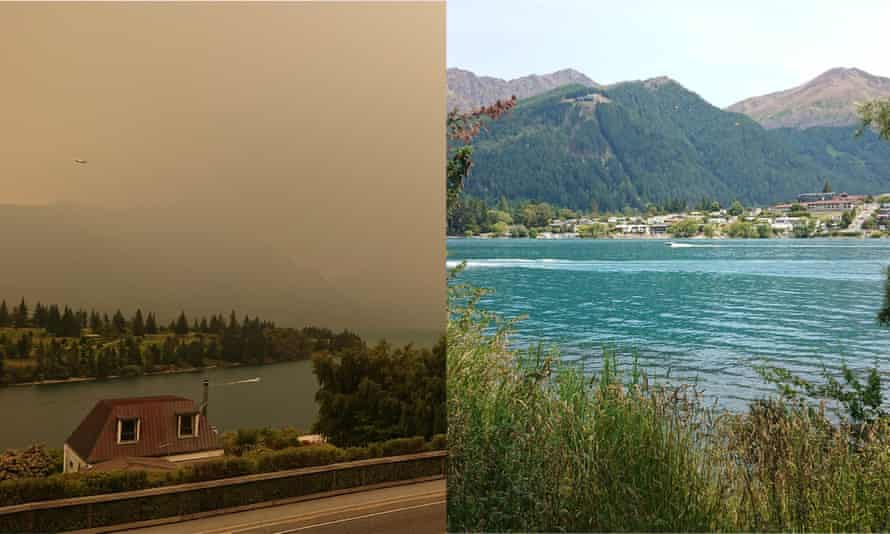 Smoke from Australia in Queenstown, New Zealand. 1 st of January 2020 vs yesterday 31 December 2019.
