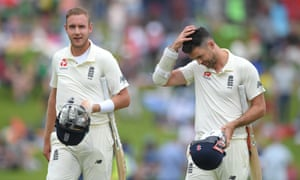 England's Stuart Broad (left) and James Anderson leave the field after South Africa win the match by 107 runs.