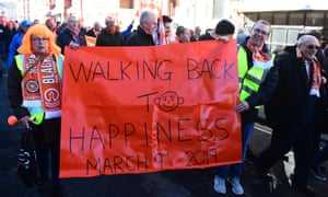Blackpool fans celebrate the ousting of the Oyston ownership last year.