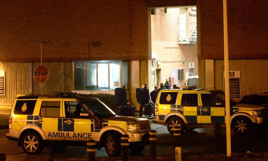 Prison riot officers enter Swaleside.