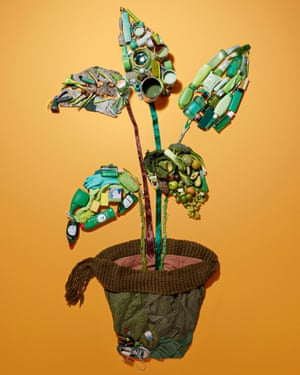 Illustration of a plant in pot, made up of plastic bottles, old clothes, etc