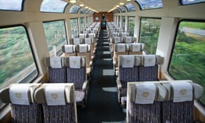 A Rocky Mountaineer carriage with its domed glass roof.