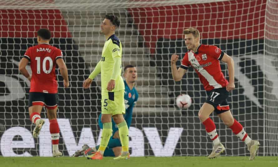 Stuart Armstrong celebrates after scoring Southampton's second goal.