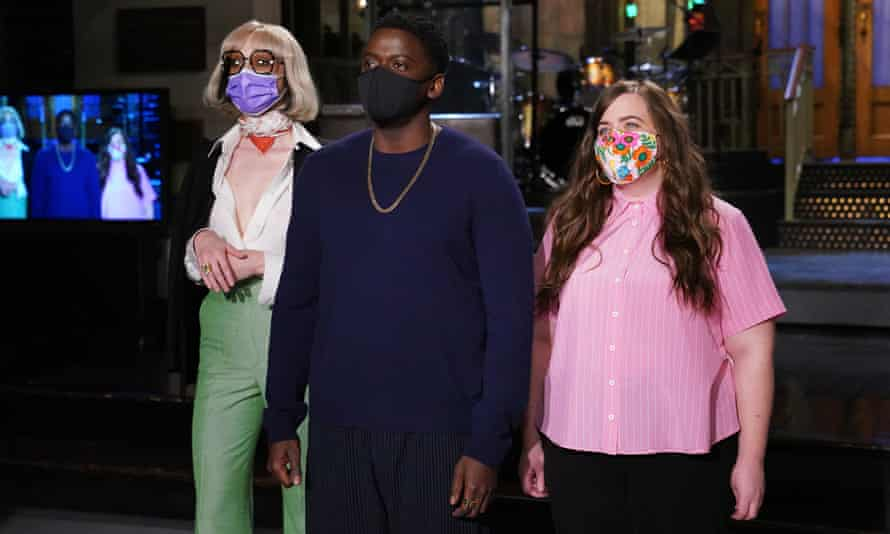 St Vincent, Daniel Kaluuya and Aidy Bryant during Promos in Studio 8H on Thursday.