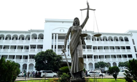 The statue outside the supreme court in Dhaka