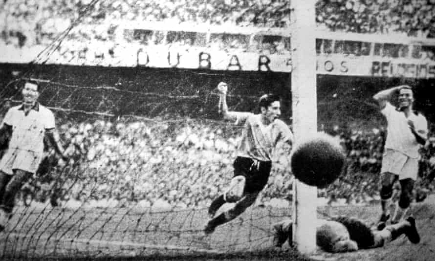 Alcides Ghiggia celebrates scoring for Uruguay against Brazil in the final game of the 1950 World Cup at the Maracanã.