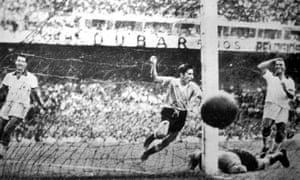 Alcides Ghiggia celebrates scoring the winning goal in the 1950 World Cup final against Brazil at the Maracanã.