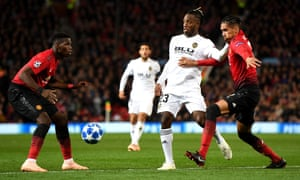 Michy Batshuayi, on loan from Chelsea to Valencia, challenges Manchester United's Paul Pogba and Chris Smalling during their Group H Champions League game earlier this season.
