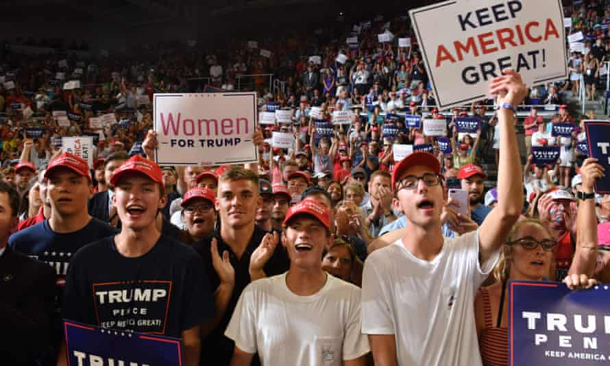 Young supporters of the US president attend a 'Make America Great Again' rally at Minges Coliseum in Greenville, North Carolina, on Wednesday.