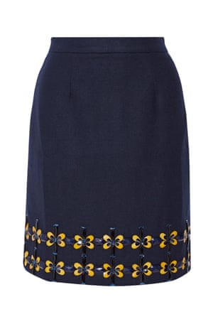 Navy embellished skirt