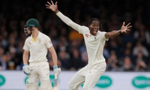 Jofra Archer removed Cameron Bancroft lbw for his first Test wicket and he ended the day with one for 18 from 13 overs.