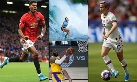 Clockwise from left: Marcus Rashford, Bethany Hamilton, Megan Rapinoe and LeBron James, who all featured this year.
