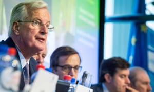Michel Barnier (left) at the start of a European economic and social committee meeting in Brussels this morning.