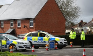 Police near the home of Sergei Skripal in Salisbury