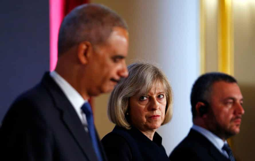 Theresa May and US attorney general Eric Holder (left) at the Ukraine Forum on Asset Recovery in 2014.