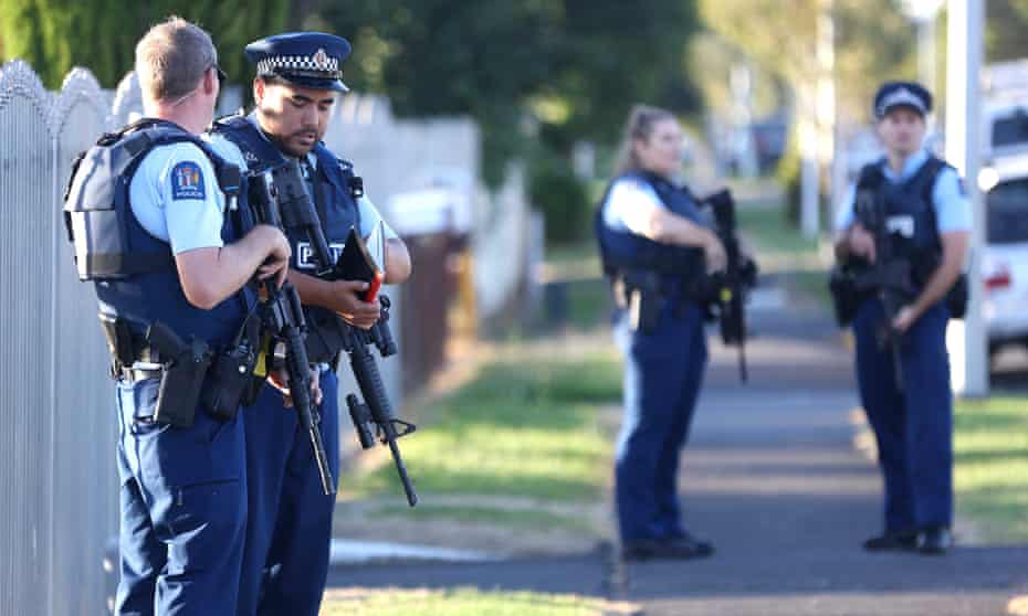 Armed police outside a mosque in Manurewa in Auckland, New Zealand