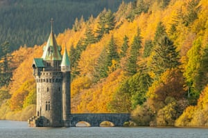 gothic revival tower on Lake Vyrnwy in autumn