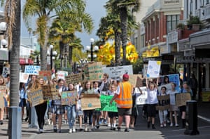 Napier, New Zealand Students and supporters march in Napier