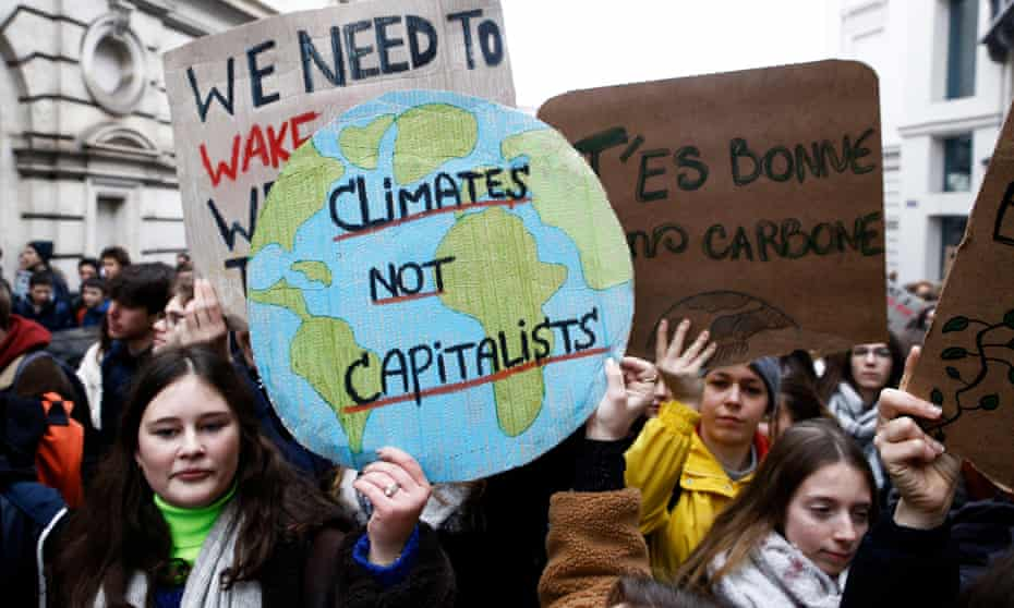 Students in Belgium demonstrate against climate change inaction.